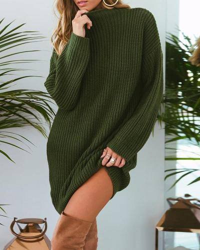 Women Long Sleeve Solid Color Knitted Dress Sweater