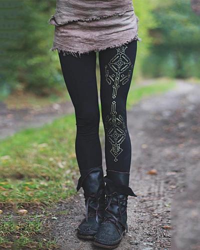 Women's Vintage Organic Cotton Print Stretch Leggings