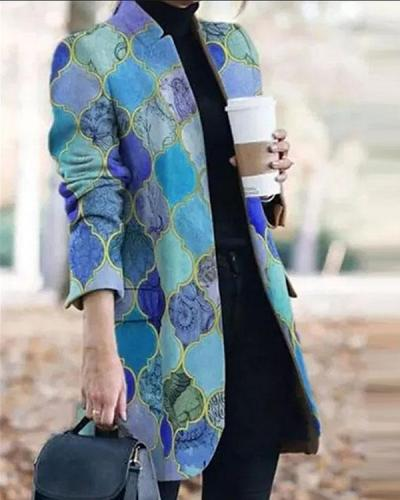 Suit Collar Long Sleeve Printed Trench Coat