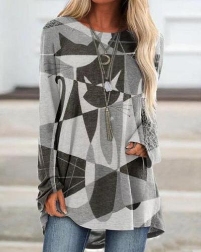 Women's Abstract Cat Print T-Shirt