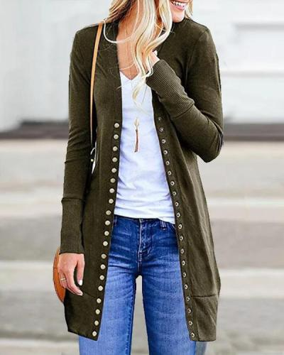 8 Colors Solid Casual Buttoned Long Sleeve Cardigan