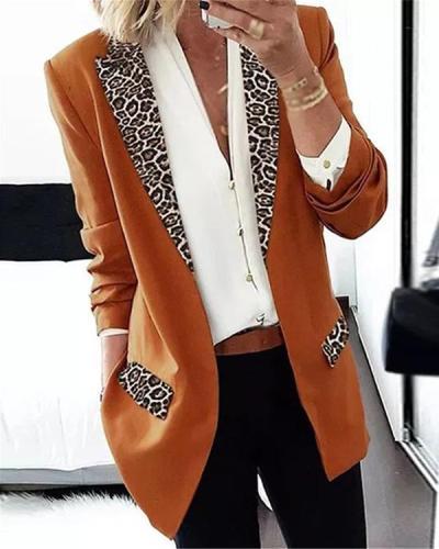 Long Sleeve Lapel Pockets Leopard Print Blazers
