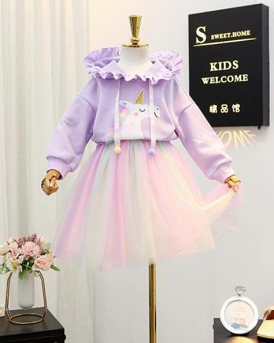 Baby / Toddler Hoodie Sweatshirt Rainbow Dress Set