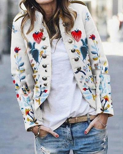 Vintage Floral Double Breasted Jacket