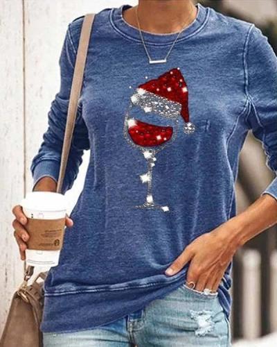Casual Christmas Wine Glass Print T-shirts