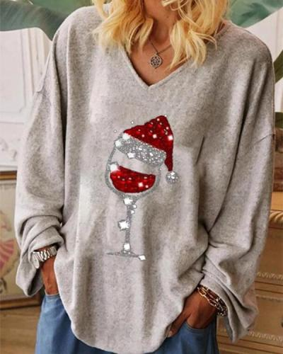 Casual Christmas Wine Glass Print V-neck Blouses