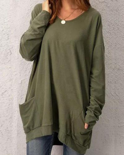 Casual Pockets Long Sleeve Solid Tops Tunics