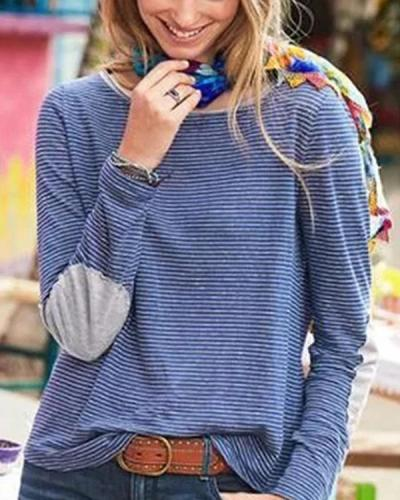 Long Sleeve Striped Print T-shirt
