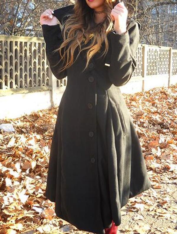 Women Long Sleeve Collar Buttons Trench Coats