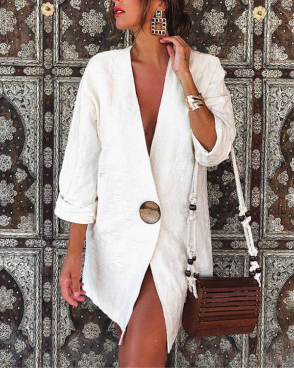 Women's Solid V Neck Cotton & Linen Blazer Top