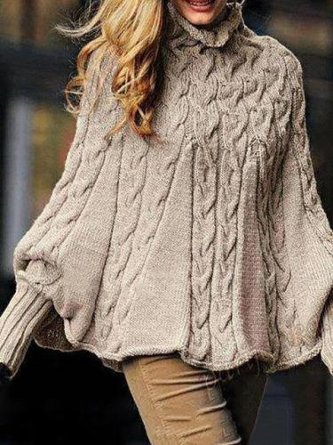Solid Knitted Batwing Stand Collar Casual Plus Size Sweater