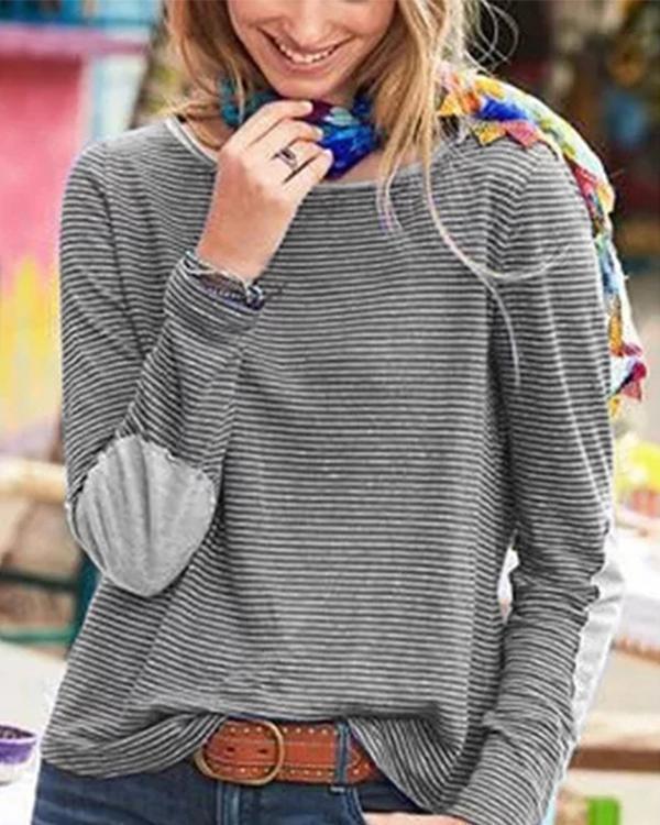 Long Sleeve Striped Print T-shirt