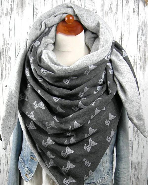 Women Cartoon Printed Shawl Multi-purpose Neck Wrap Warm Scarf