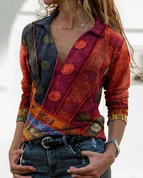 Color Block V Neck Long Sleeve Blouses