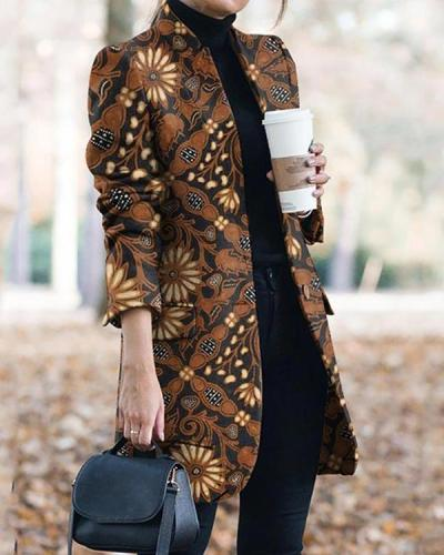 Vintage Print Collarless Buttons Pockets Blazer&Coat