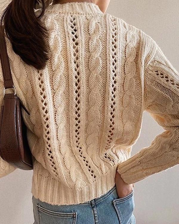 Autumn and Winter Women  Solid Color Cardigan
