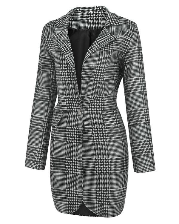 Fashion Plaid One Button Pockets Blazer&Coat