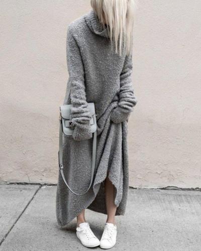 Plus Size Casual Turtleneck Long Sleeve Maxi Dresses
