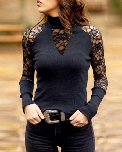 Lace High Neck Long Sleeves Casual Elegant Knit Blouses