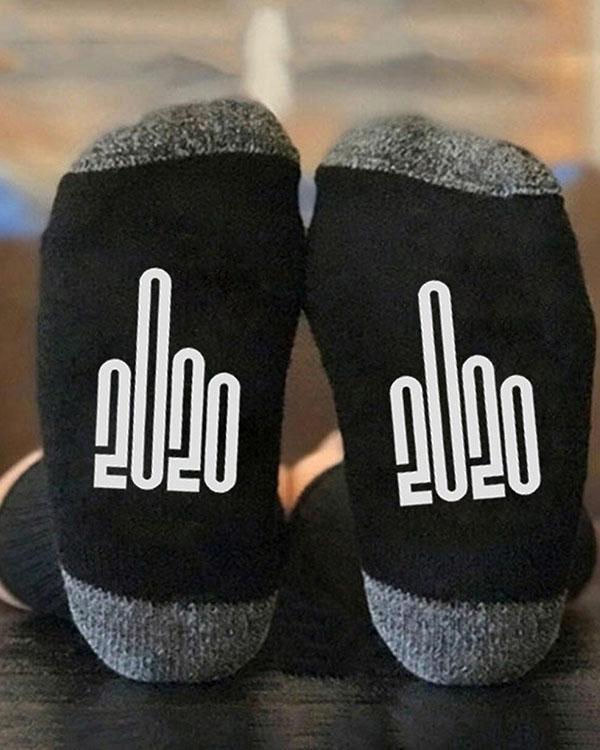 2020 Middle Finger Graphic Crew Socks