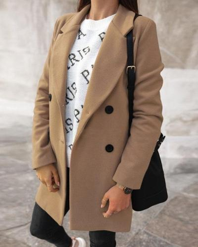 Casual Lapel Collar Double Breasted Solid Coats Outerwear
