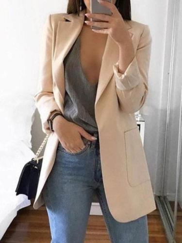Lapel Pockets Office & Career Solid Women's Fall/Autumn Blazers