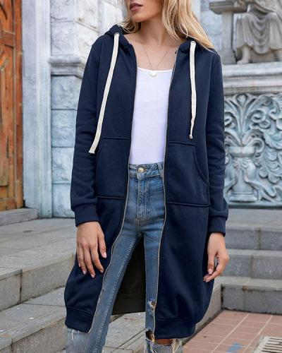 Women Solid Pockets Fleece Hoodie Long Sweatshirt Cardigan(12 Colors)