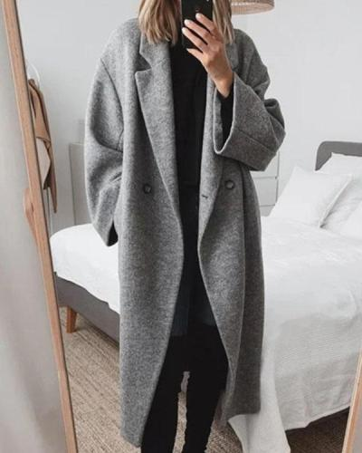 Women Pockets Lapel Solid Wool-blend Coat