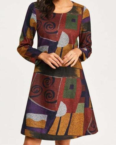 Casual Color Block Round Neckline Long Sleeve Knee-Length Dress