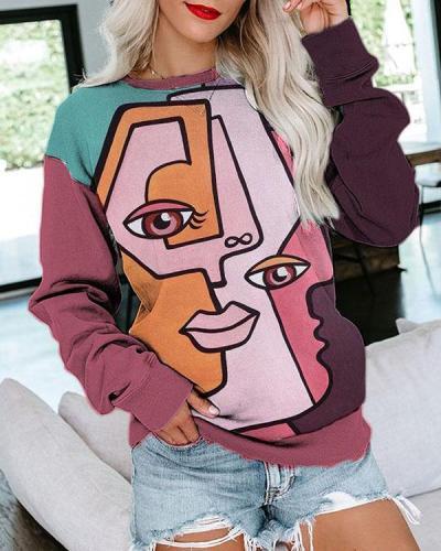 Graffiti Print Casual Sweatshirt