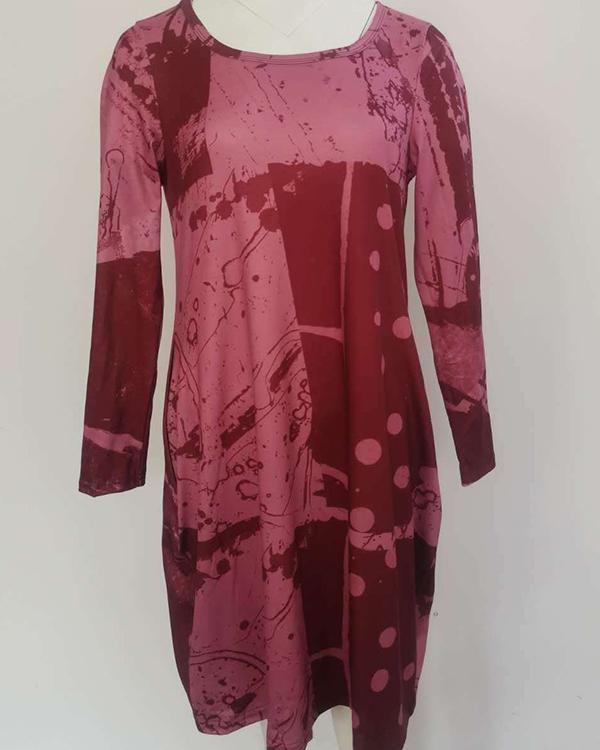Casual Random Print Pockets Long Sleeve Shift Dress