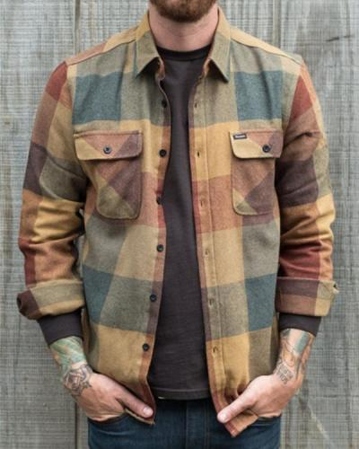 Men's Casual Retro Plaid Shirt Jacket