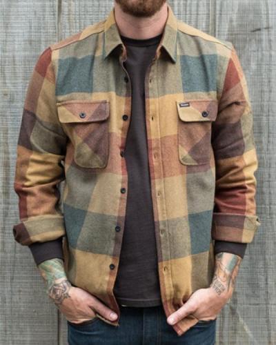 Men's Casual Retro Plaid Shirt Jacket