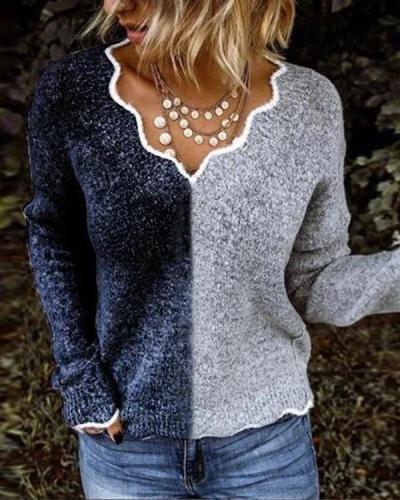 Women Exotic V Neck Long Sleeve Sweater