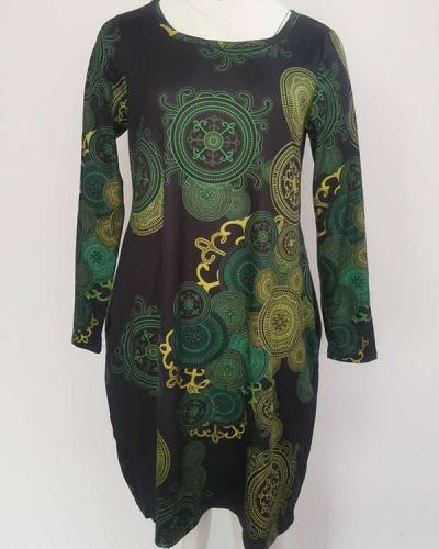 Casual Vintage Print Pockets Long Sleeve Shift Dress