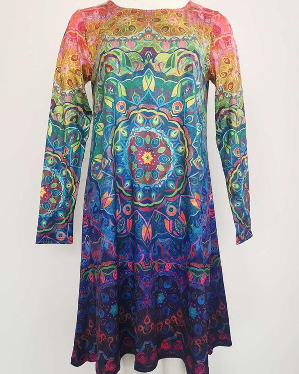 Vintage Floral/ Butterfly Tunic Round Neckline A-line Dress