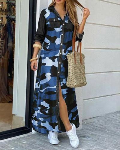 Casual Leopard/Camo Print Button Pockets Shirt Dress