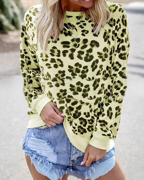 Women O Neck Pullover Leopard Print Blouse Tops