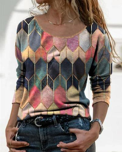 Color Block Casual O-Neckline Long Sleeve Blouses