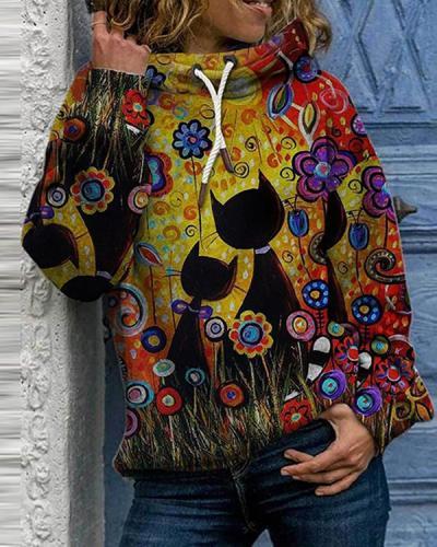 Hooded Animal Casual Loose Regular Shift Sweatshirts