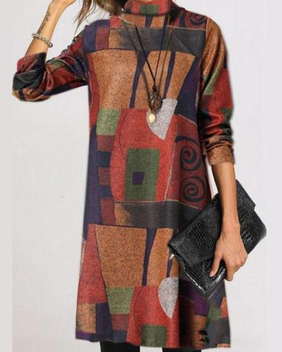 Casual Color Block Tunic Turtleneck A-line Dress