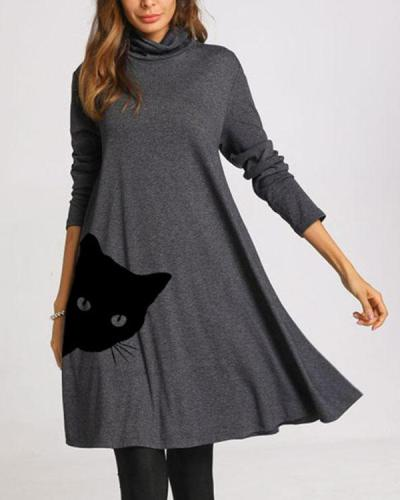 Cat Print Long Sleeve A-line Dresses