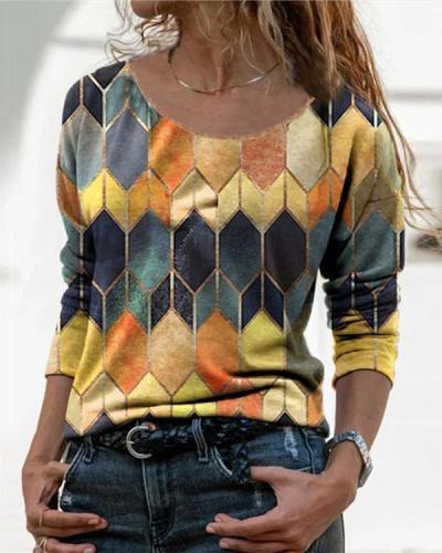 Color Block Casual O-Neckline Long Sleeve Blouses