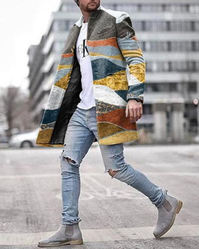 Autumn And Winter Fashion Print Long Warm Coat
