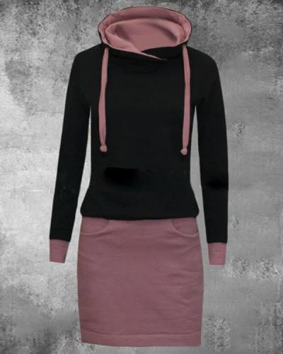 Casual Color Block Pencil Round Neckline Sheath Dress