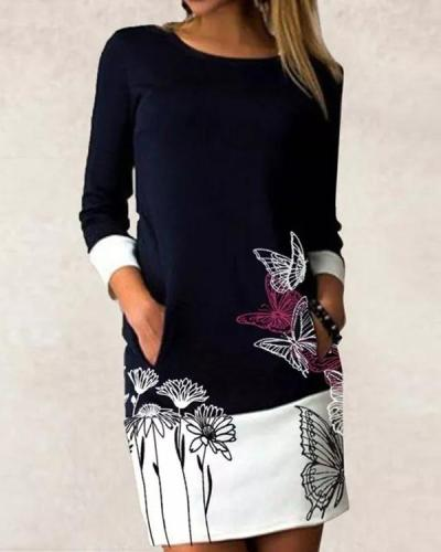 Casual Floral Shirt Round Neckline Shift Dress