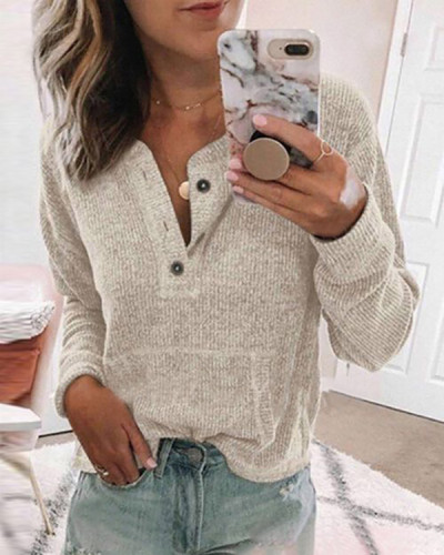 Others Solid Loose Regular Buttons Sweaters