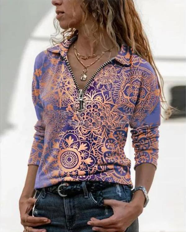Shirt Collar Vintage Floral Print Blouses