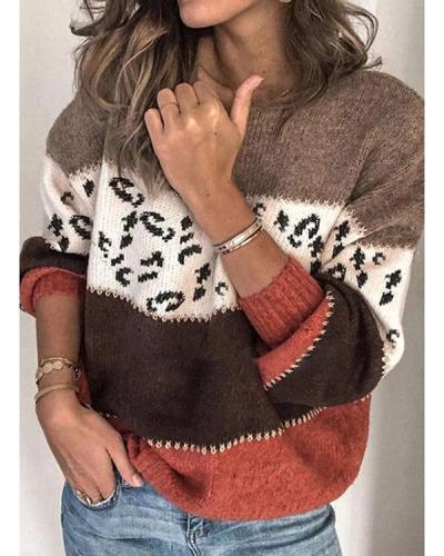 Women's Casual Trendy Loose Leopard Sweaters