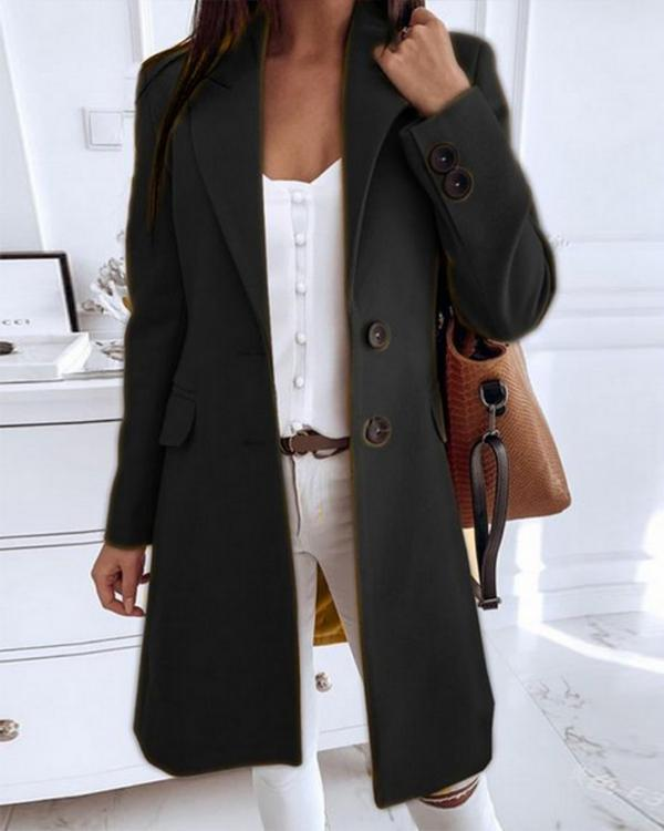 Long Sleeve Buttons Trench Coats